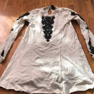 Free people cream embroidered dress size m